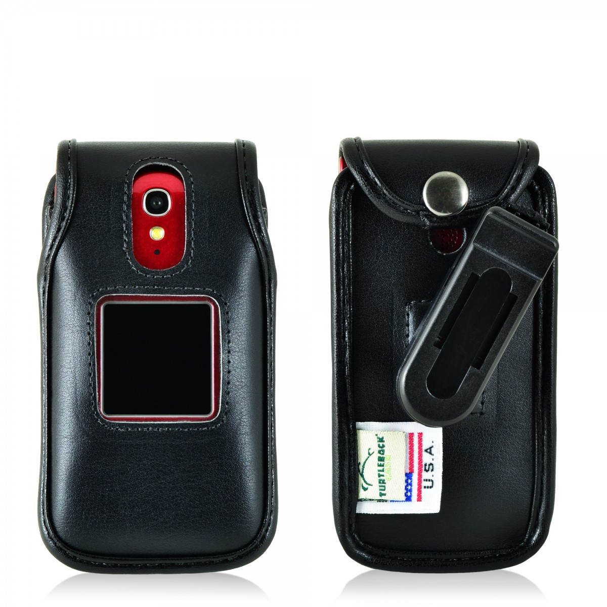 online store 2d717 15efa Jitterbug Flip Cell Phone Black Leather Fitted Case with with Rotating  Removable Belt Clip